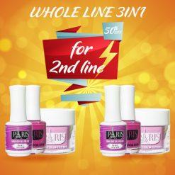 Special deal for Whole Line 3IN1 (Dipping powder + Gel + Nail Polish): $8 x 216 colors = $1728 GET DISCOUNT 50% for the second Whole Line 3IN1 Chương trình khuyến mãi đặc biệt khi mua whole line 216 colors dip powder + gel + nail polish giá $8 x 216 màu = $1728 sẽ được giảm 50% khi mua thêm 1 line SS-3IN1 Note: LƯU Ý: Apply when for order Whole line Combo 3 in 1 (Áp dụng khi mua Whole line Combo 3 in 1) The promotion will be stopped when run out of gift (Chương trình khuyến mãi sẽ dừng lại khi hết quà tặng) The gift are not redeemable for cash (Quà tặng không được quy đổi thành tiền mặt)